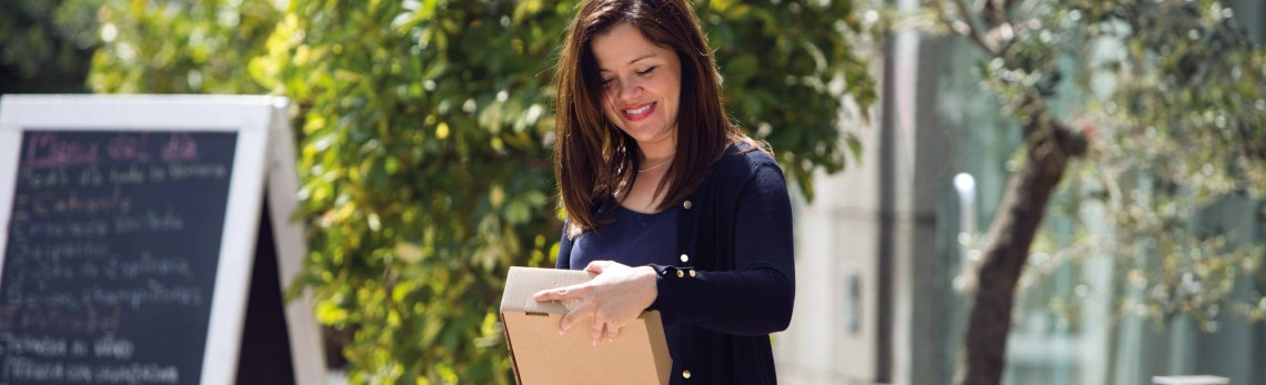 Customer holding a parcel outdoor